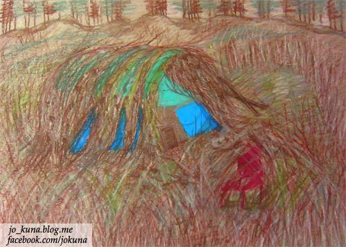 <주인 잃은 움막, The dugout hut lost an old friend, oil pastel, 2014>