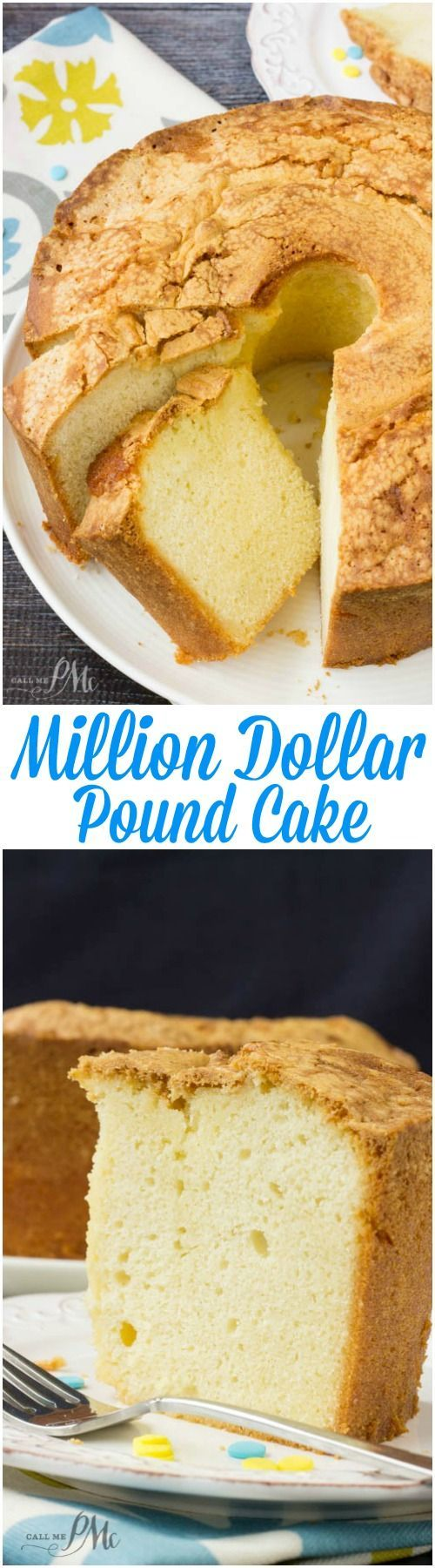 A crowd-pleaser, this Million Dollar Pound Cake has a fine, rich, smooth texture with classic vanilla flavor. It's a classic for a reason and you'll understand the title 'million dollar' after one taste!