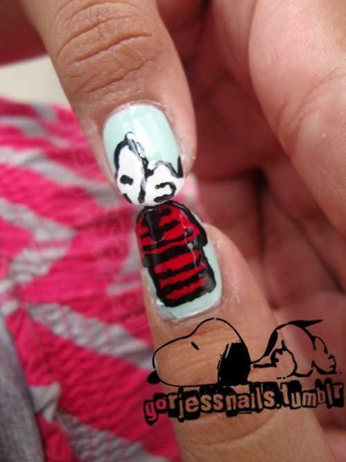 Snoopy on his house.Snoopy Nails, Fun Fingernail, Gorjess Nails, Funny Nails Art