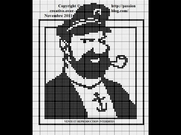 héros-cartoon-bd - tintin et milou - capitaine  - point de croix - cross stitch - Blog : http://broderiemimie44.canalblog.com/