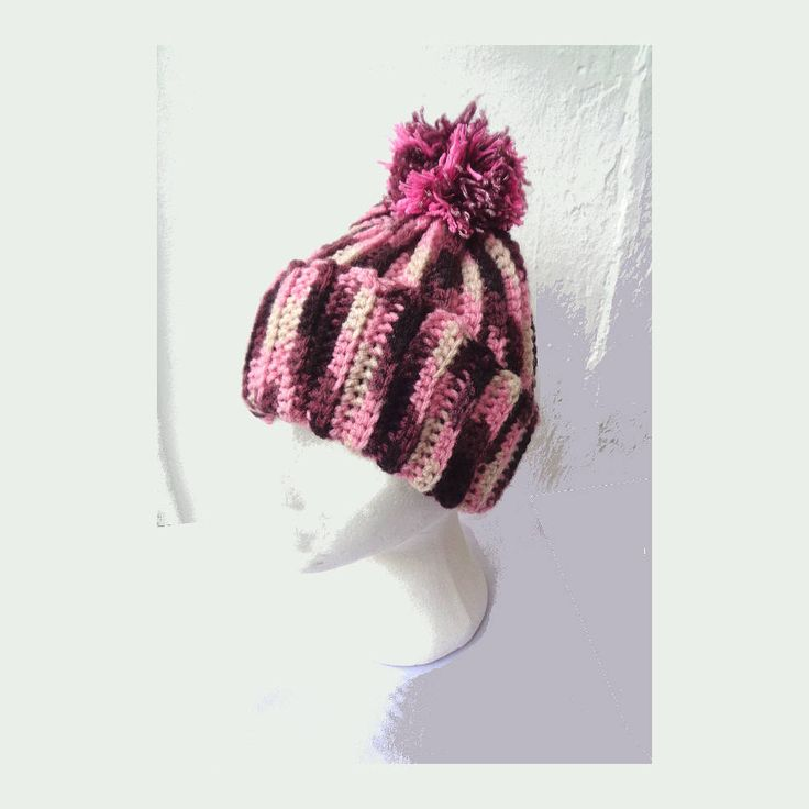 Handmade OOAK ladies crochet hat beanie unique crochet hat pom pom hat woollen womens pink maroon cream bobble hat Dianthus Skye collection by IrishBarnVintage on Etsy