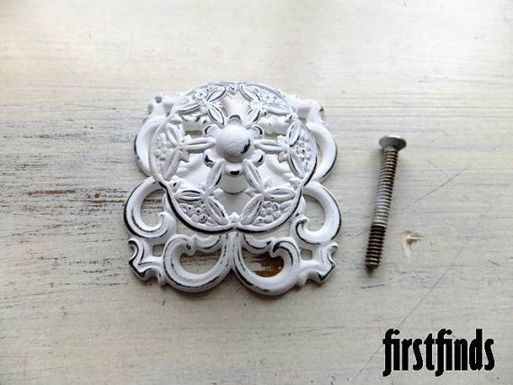 1 Unique Knob Filigree Back Plate Shabby Chic White Cupboard Kitchen  Vintage Bathroom Pull Kitchen Cabinet Door Cupboard Handle One Of Kind