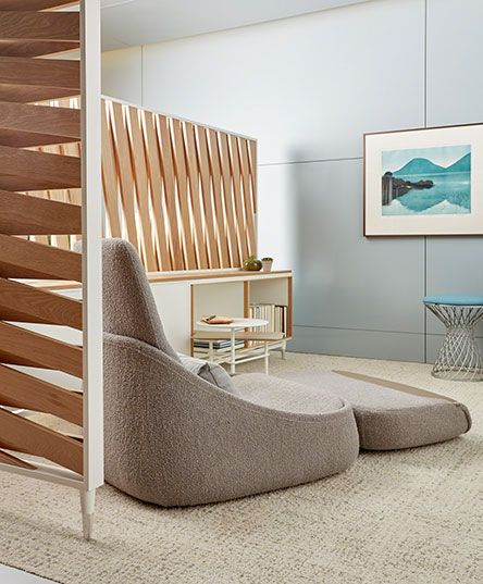 Coalesse's the Hideaway at NeoCon 2016 featuring Hosu Lounge Seating and a concept privacy screen.