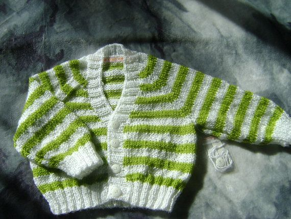 Boys stripe cardigan, white and green 4 ply acrylic. 0-6 months | Shop this product here: http://spreesy.com/LittleKiwiKnits/3 | Shop all of our products at http://spreesy.com/LittleKiwiKnits    | Pinterest selling powered by Spreesy.com