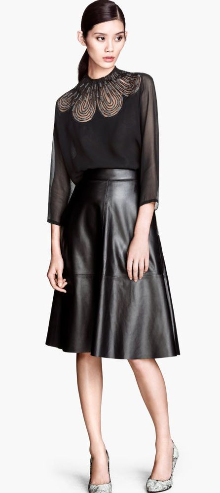H&M Trend Premium Real Leather Flare Midi Zip Skirt UK 8 EU 34 US 4 BNWT in Clothes, Shoes & Accessories, Women's Clothing, Skirts | eBay 90GBP