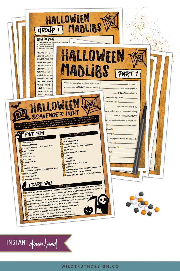 Silly Halloween Games For Adults & Teens Mad Libs