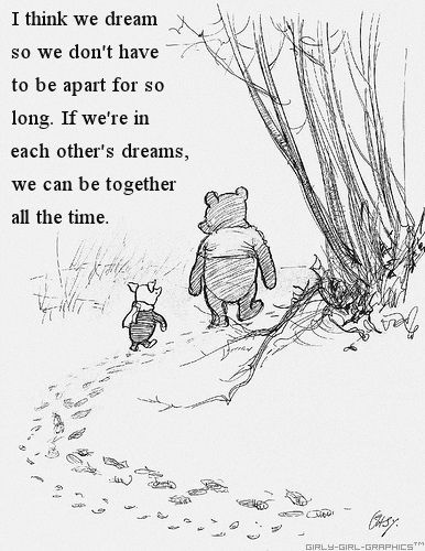 I think we dream so we don't have to be apart for so long. If we're in each other's dreams, we be together all the time. ~ Winnie the Pooh This would be a beautiful picture to hang in a family room or something! | See more about dream quotes, sweet dreams and dreams.