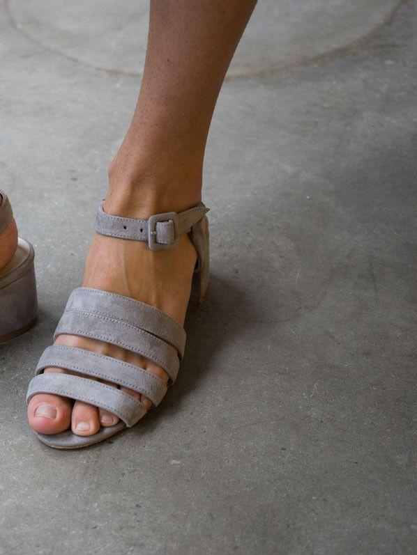 palma low heel sandal, elephant suede.
