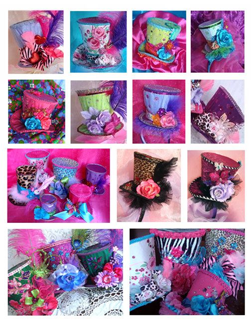 PARTY PACKAGE 8 GorgeousTop Hats Ala Carte Assorted Sizes in your Custom Fabrics and Colors