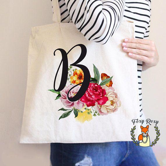 Floral Monogram Tote Bag Initial Tote Bag Personalized Tote