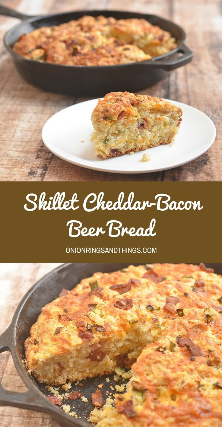 Skillet Cheddar-Bacon Beer Bread is a savory quick bread with smoky bacon, sharp cheddar, and green onions. Golden and crisp on the outside and moist and fluffy on the inside, it's the perfect pair to your favorite hearty soup or homemade chili. via @lalainespins