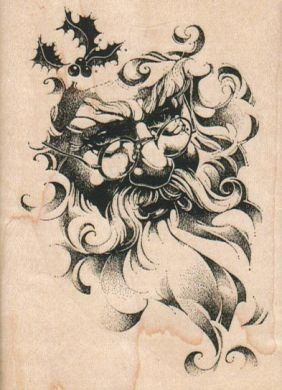 Christmas rubber stamp Santa Clause face  wood mounted stamp 14721 on Etsy, $6.90