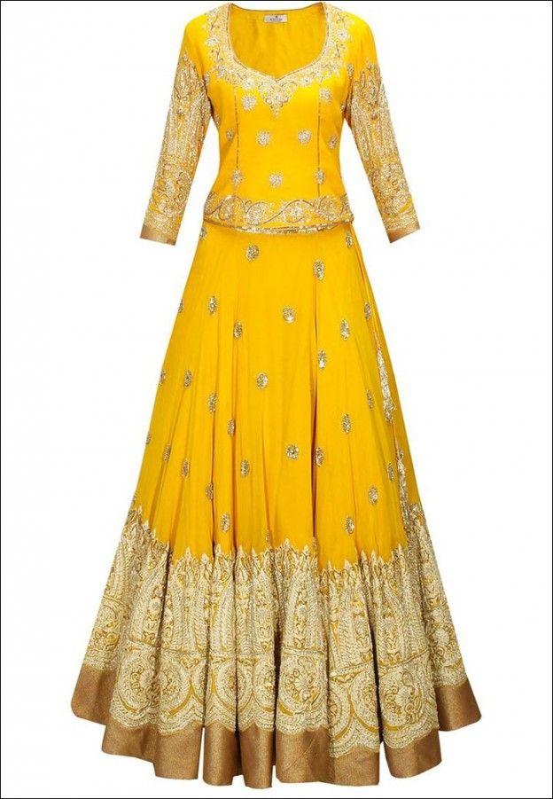 Lehenga For Engagement - Yellow And Gold Lehenga