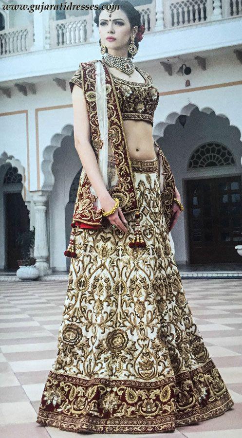 Buy White And Red Indian Wedding Outfit Bridal Lehenga Choli 1930 USD
