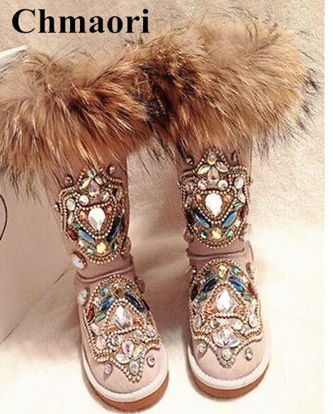 Hot Winter 2018 Slip Woman Warm Fox Hair Snow Stiefel Female Slip 2018 on Flat ... 7694d5