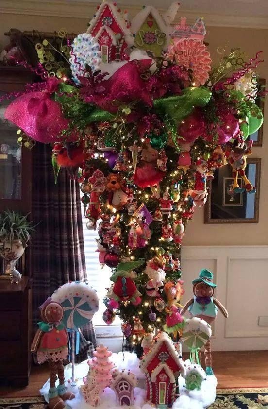 Enchanting, whimsical upside down Christmas tree