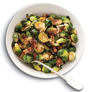 Brussels Sprouts with Bacon, Garlic, and Shallots -- easy, 5-ingredient side dishwith intense flavor. Use nitrate-free turkey bacon.