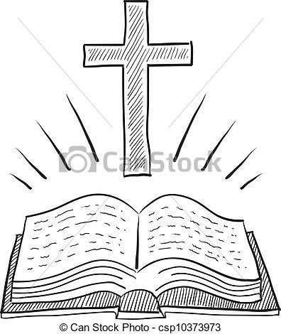 Vector - schets, Bijbel, kruis - stock illustratie, royalty-vrije illustraties, stock clip art symbool, stock clipart pictogrammen, logo, line art, EPS beeld, beelden, grafiek, grafieken, tekening, tekeningen, vector afbeelding, artwork, EPS vector kunst