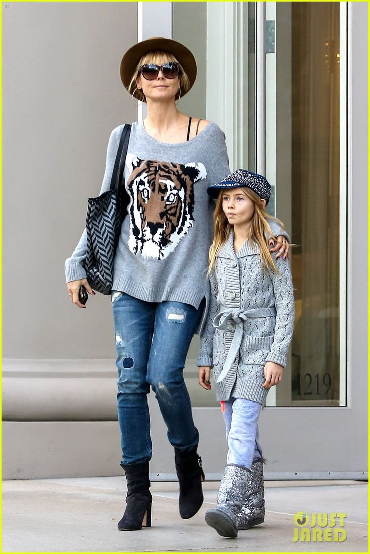 Heidi Klum does some Christmas shopping with her daughter Leni on December 22, 2013