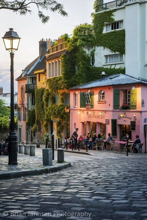 Montmartre, Paris. I actually remember standing there, exactly in front of the pink building and taking picture with my sister..