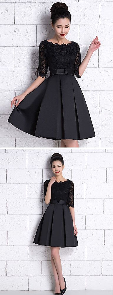 Knee length black lace dress ukuran