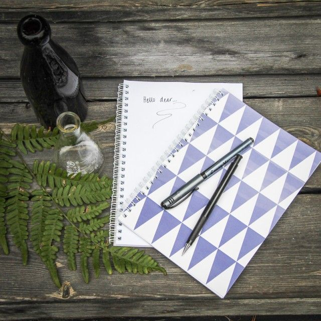 Notebokks set of 2 Triangle, blue - Luckey me studios #nordicdesigncollective #notebooks #book #note #notebook #pencil #pen #draw #write #text #luckymestudios #triangle #blue