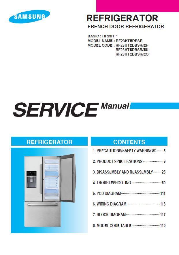 Samsung Rf23htedbsr French Door Refrigerator Service Manual Refrigerator Service French Door Refrigerator Samsung Refrigerator French Door