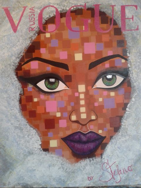 Vogue by STEFANO acrylic on canvas fashion art Naomi Campbell 2015 acrylic,painting,portait,painter,supermodel,model,naomi,fashion art,art.fineart,women,cover girl