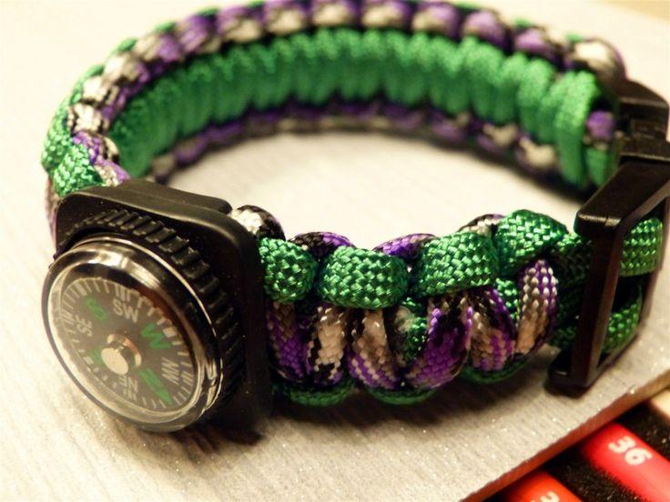 Uni Paracord Birdie armband, Bushcraft Survival fluitje en kompas, camo paars en helder groen via Birdie By AnneMary Westera