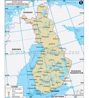 Finland Latitude and Longitude Map (Digital)