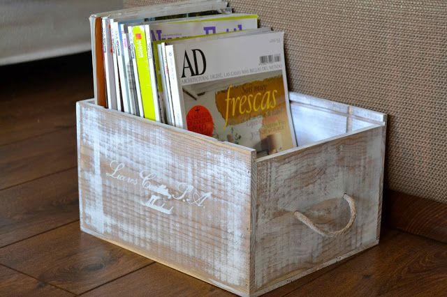 Revistero DIY reciclando caja de vino Oro y menta