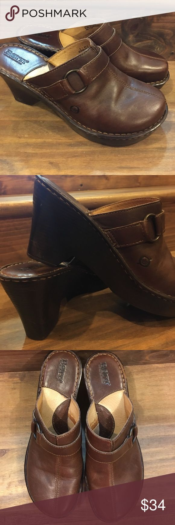 "Born Brown Mule/Clog Size 9 Born Brown Mule/Clog Size 9, gently used, there are a few minor scuffs on the leather and on the heels from normal wear. Great pair of shoes and very comfortable. 3 1/2"" heel height. Born Shoes Mules & Clogs"