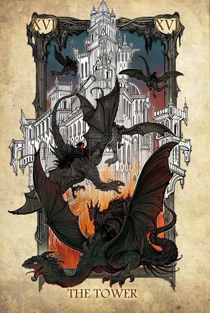 Tarot: The Tower by SceithAilm on DeviantArt. This artist has done the entire major arcana with a Lord of the Rings theme... TOO GORGEOUS.