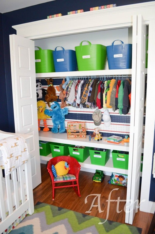 Slippers by Day: Kids Closet Organization I love the peg board