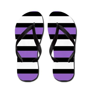 Purple, Black and White Stripes Flip Flops by Khoncepts