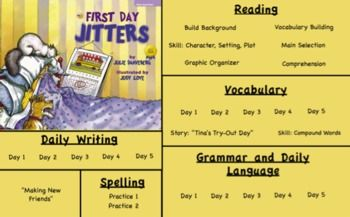 FREE!!  First Day Jitters Third grade Treasures Reading Unit 1 Week 1 Flipchart 3rd