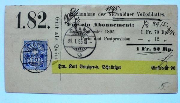 ABONNEMENT 1895, Nidwaldner Volksblatt in ittigen kaufen bei ricardo.ch