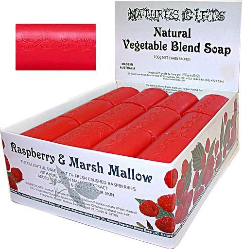 NG 100G - RASPBERRY & MARSH MALLOW	SOAP - <p>Natures Gifts natural vegetable soap bars with Marshmallow extract to soothe the skin & added vegetable glycerine. Proudly made in Australia since 1983 by an Austaralian owned company. Packed 36 per box</p> Quality natural handmade soaps, candle, home, bathroom & beauty products make great gift ideas for him & her for any occasion or if you just want to treat yourself.