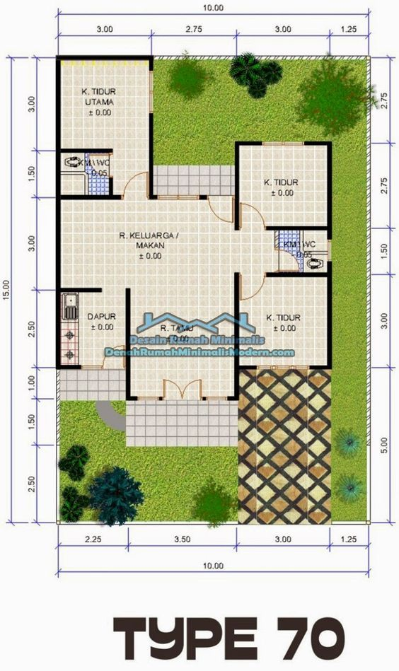 denah rumah minimalis type 70 1 lantai: