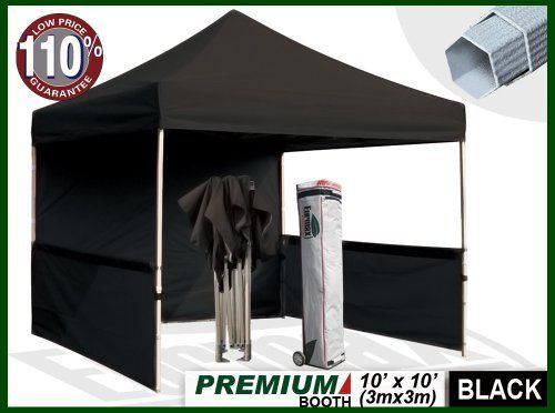 Eurmax Premium Ez up Canopy Booth Bonus Awning and 4weight Bag(10x10 Feet, Black) by Eurmax. $389.95. Canopy top:600 Denier Polyester,Water Resistant,100% UV Protection,Fire Resistant: CPAI-84/ULC S109 & NFPA 701 Flame Retardancy Standards. Frame:Heavy duty Alumix Construction(Frame weight:60.6LBS).Powder Coated,Full Truss Design,Leg size:1.77 inch Hexagon ,Adjustable Height,No Tools Necessary for Setup.. Eurmax premium Canopy booth Includes:Canopy Top, Canopy Frame,back wal...