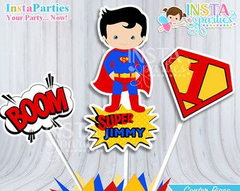 SuperMan centerpieces, Superhero centerpiece, superheroes Birthday Party, super man digital decor supplies cute center PERSONALIZED boy
