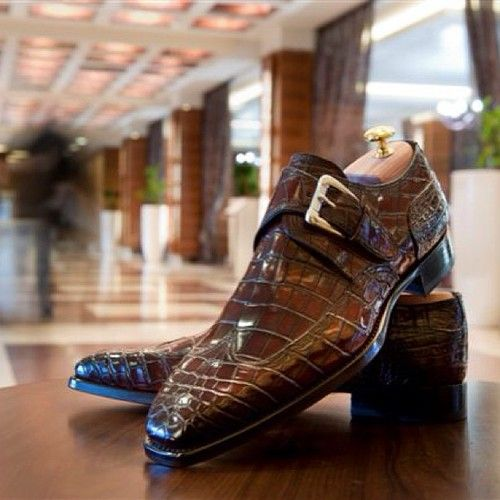 Men Brown Crocodile Wingtip Monk Strap Slip On Shoes