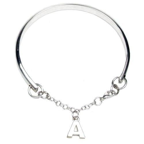 Elinor Rose Sterling Silver Charm Bangle with a Silver Initial