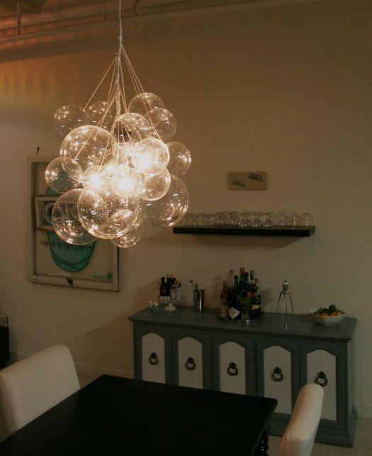 Diy bubble chandelier (directions on website) @carolyn dawe ... feeling hands on?!?: Dining Rooms, Lights Fixtures, Night Lights, Bubbles Chandeliers, Bubble Chandelier, Diy Lights, Pendants Lights, Diy Projects, Diy Bubbles