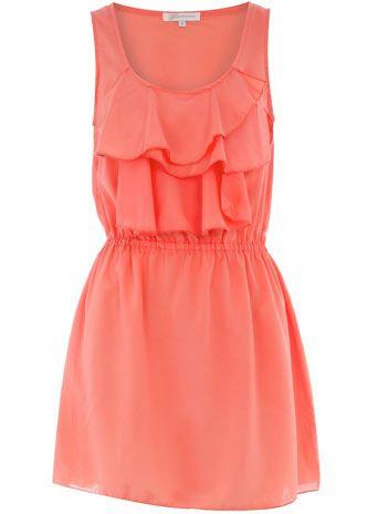 : Summer Dresses, Colors Dresses, Coral Dress, Dreams Closet, Style, Clothing, Perfect Dresses, Ruffles Bridesmaid Dresses, Coral Ruffle