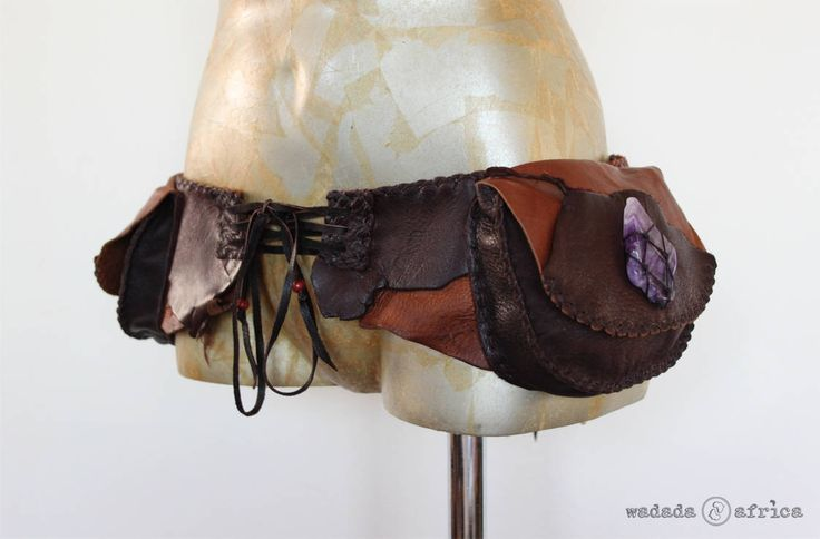 Ready to Ship // Handmade Upcycled Deerskin Leather 2 Pocket Corset Back Lace-up Utility Belt with Amethyst Point & Chevron Amethyst Slice by WadadaAfrica on Etsy