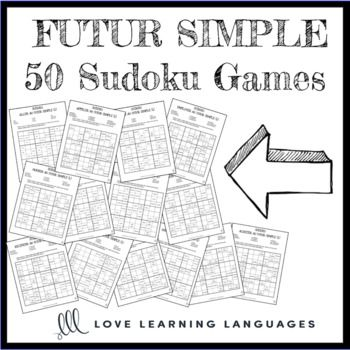 French future tense sudoku games - Le futur simple Use these sudoku games to have students practice forming the futur simple with regular and irregular stems. 50 games are included. Verbs with irregular stems have two versions each, and regular stems have one version each.