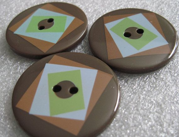 Brown Geometric Design Large Buttons  Lot of by SewSewManyButtons, $4.50