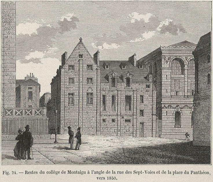 Restes du collège de Montaigu à l'angle de la rue des Sept-Voies et de la place du Panthéon, vers 1850.jpg