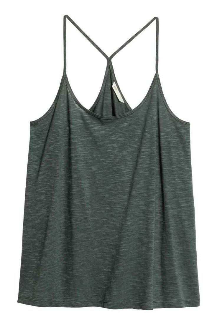 Tricot topje - Donkergroen - DAMES   H&M BE